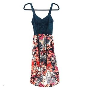 Juniors socialite denim floral high lo dress small
